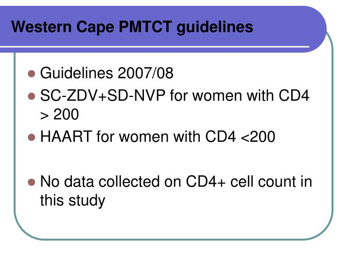 Western Cape PMTCT guidelines