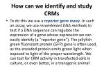 how can we identify and study crms
