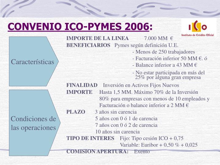 CONVENIO ICO-PYMES 2006