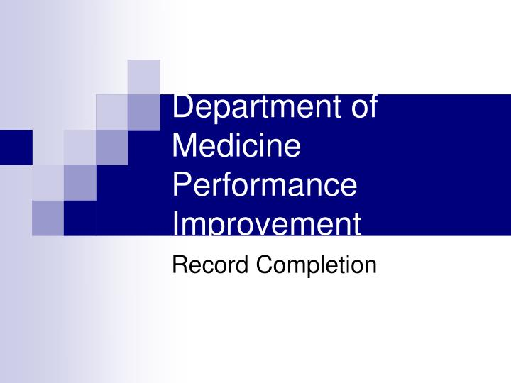 department of medicine performance improvement n.