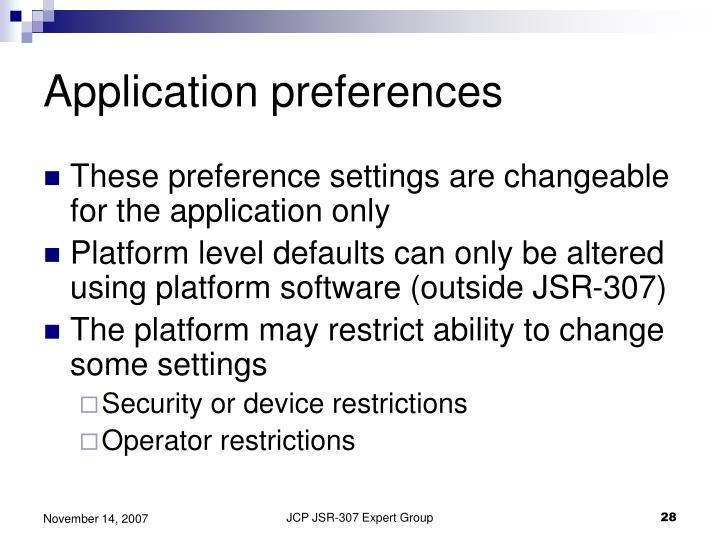 Application preferences