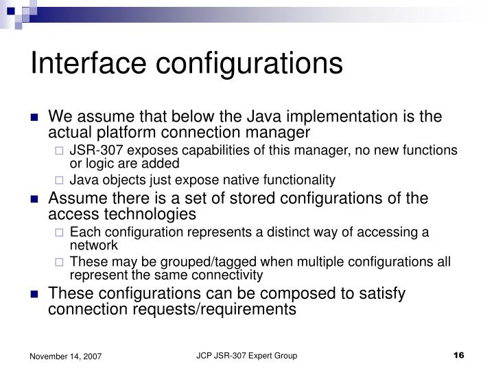 Interface configurations
