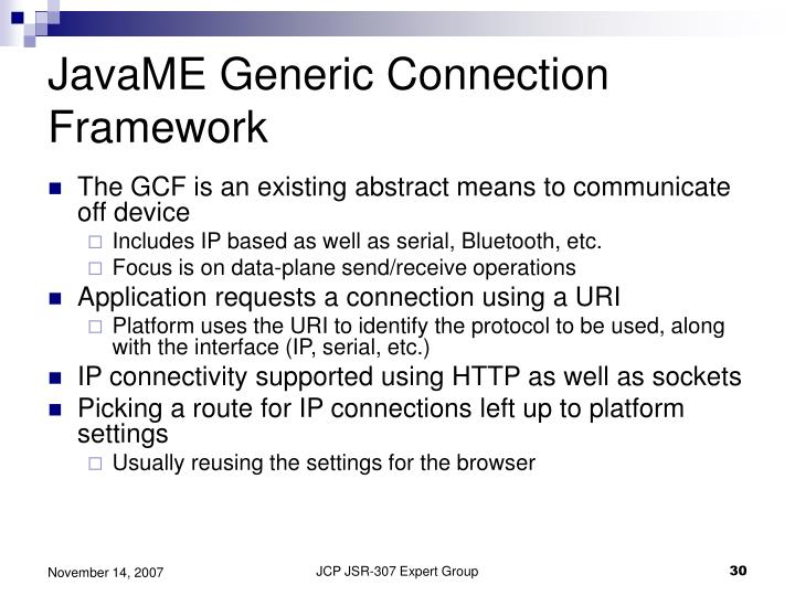 JavaME Generic Connection Framework