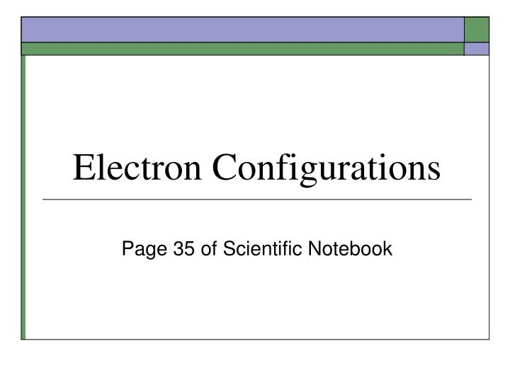 electron configurations n.