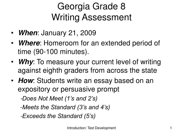 georgia grade 8 writing assessment n.