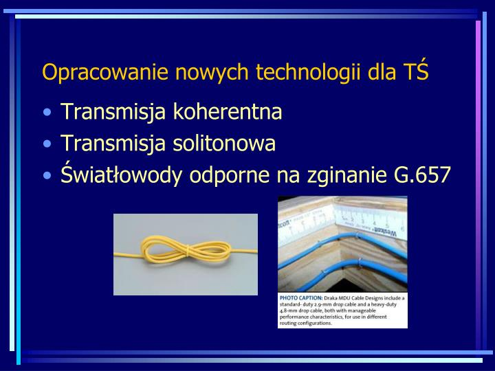 Opracowanie nowych technologii dla TŚ