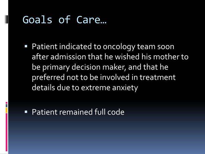 Goals of Care…