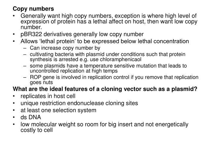 Copy numbers