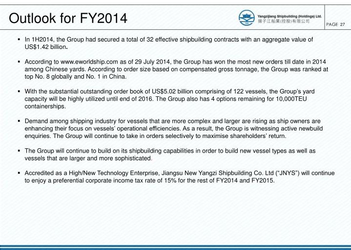 Outlook for FY2014