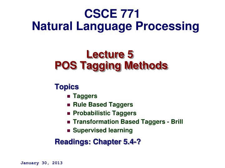 Lecture 5 pos tagging methods
