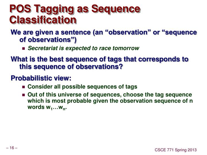 POS Tagging as Sequence Classification