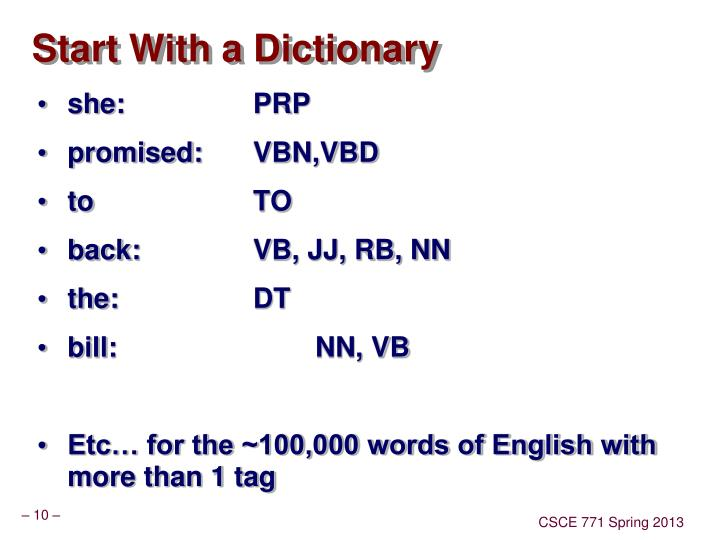 Start With a Dictionary