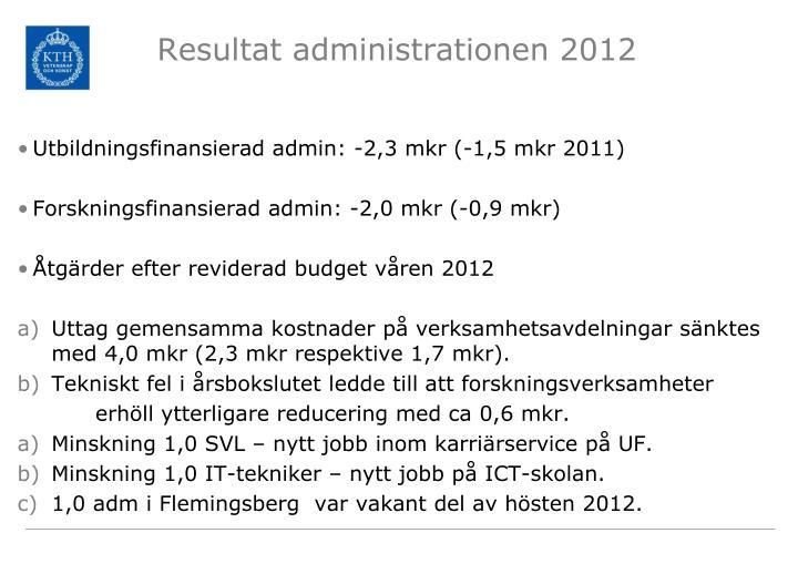 Resultat administrationen 2012