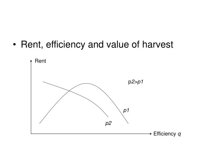 Rent, efficiency and value of harvest
