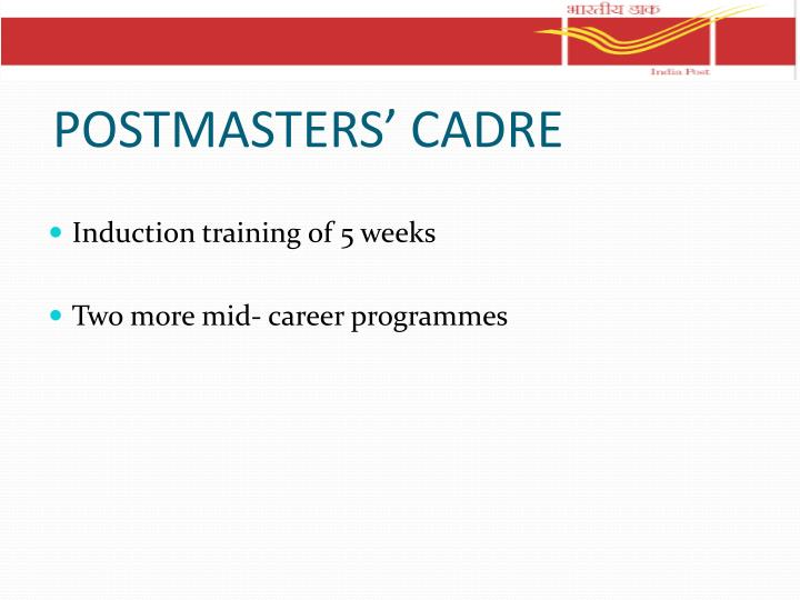 POSTMASTERS' CADRE