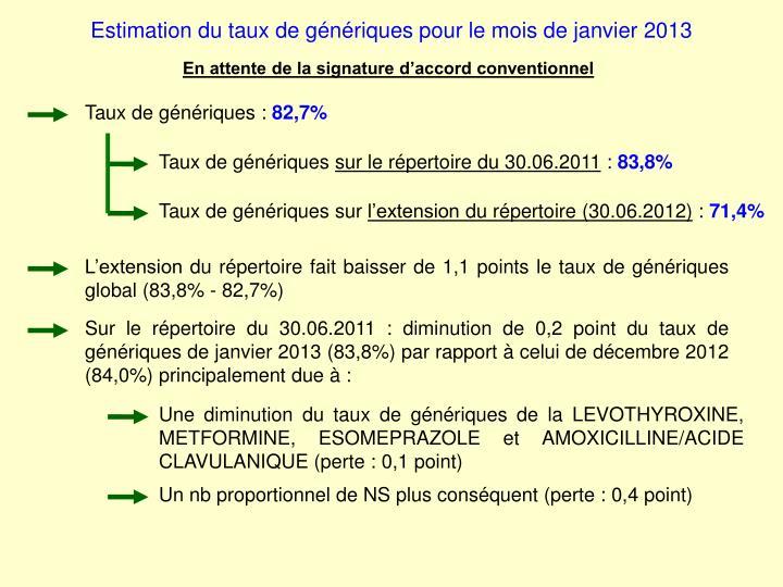 Estimation du taux de génériques pour le mois de janvier 2013
