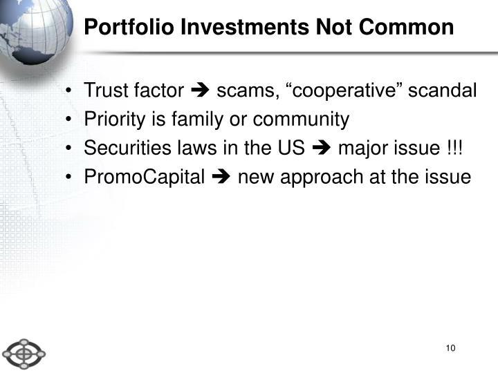 Portfolio Investments Not Common