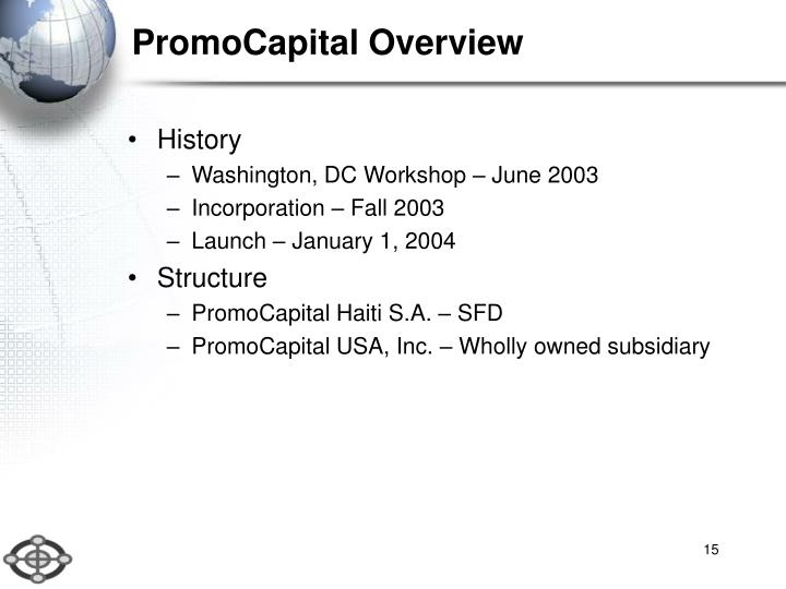 PromoCapital Overview