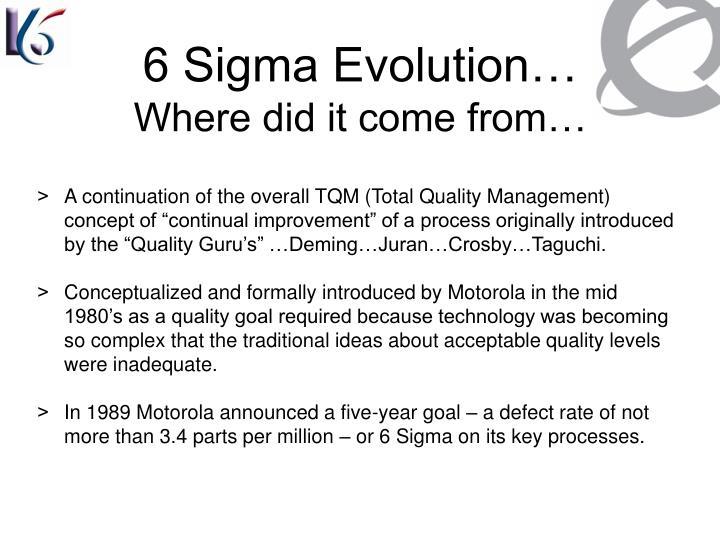 6 Sigma Evolution…