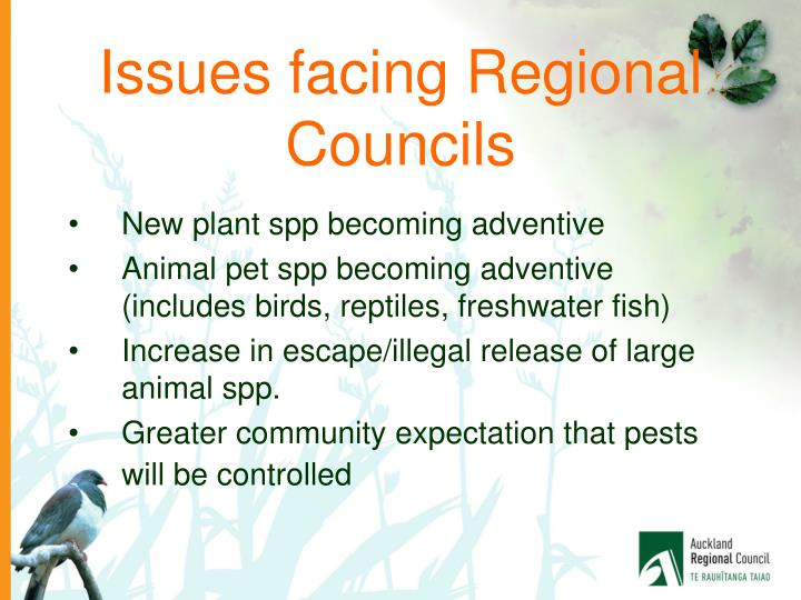 Issues facing Regional Councils