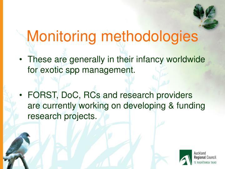 Monitoring methodologies