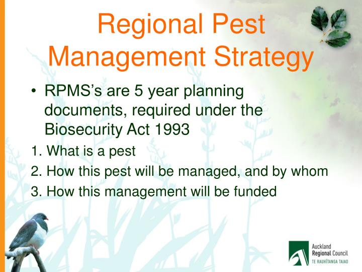Regional pest management strategy