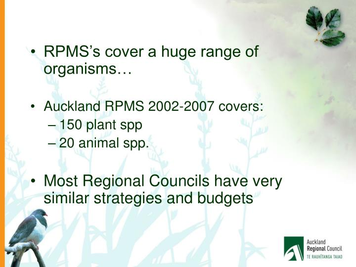 RPMS's cover a huge range of organisms…