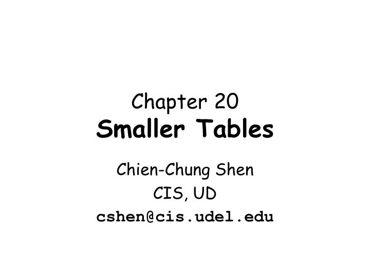 Chapter 20 smaller tables