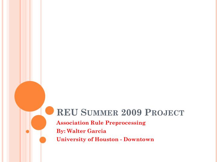 Reu summer 2009 project