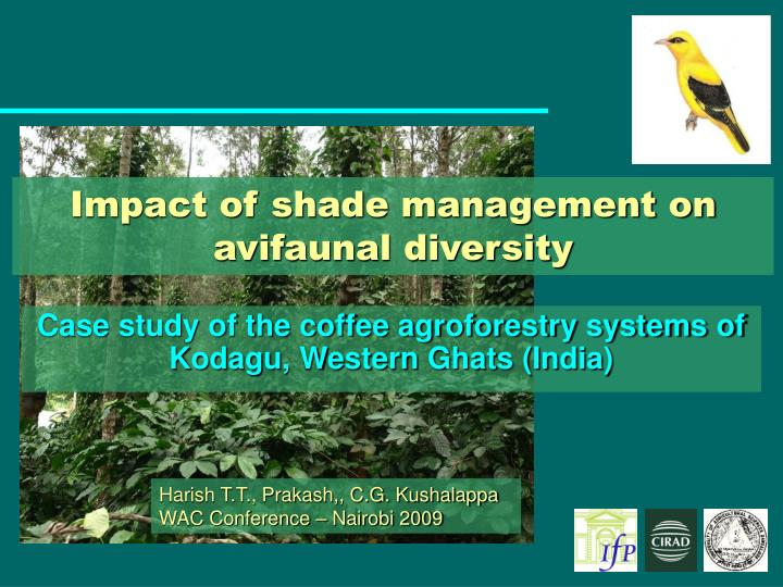 impact of shade management on avifaunal diversity n.