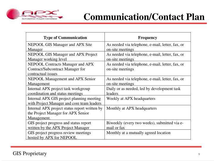 Communication/Contact Plan
