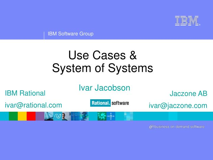 use cases system of systems n.