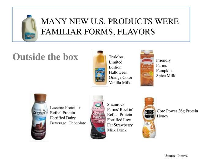 Many new U.S. products were familiar forms, flavors