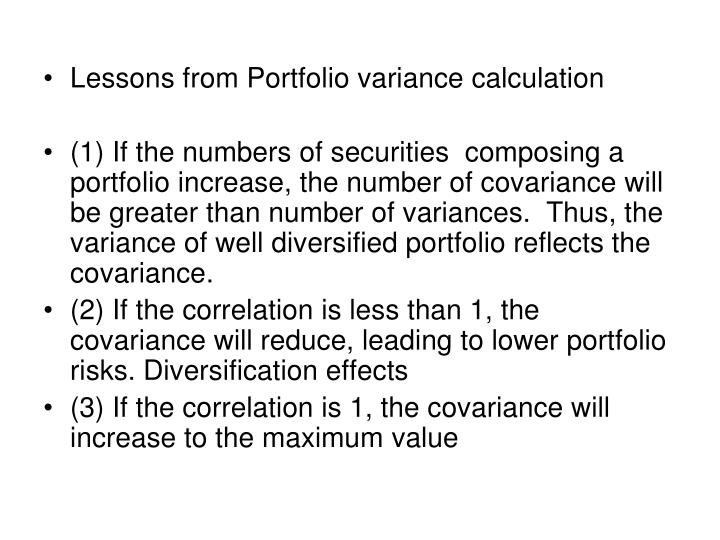 Lessons from Portfolio variance calculation