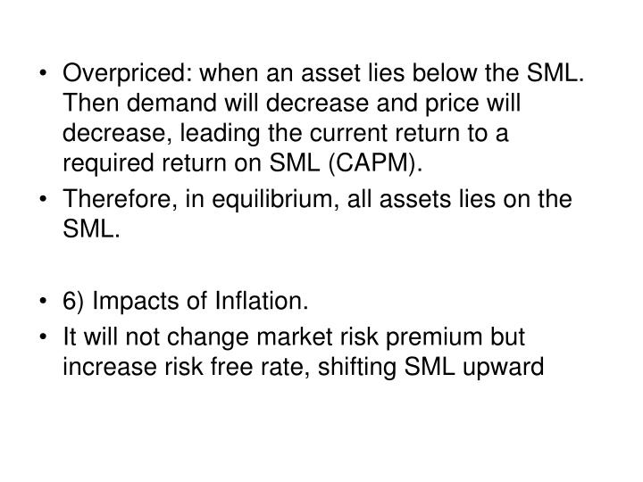 Overpriced: when an asset lies below the SML.  Then demand will decrease and price will decrease, leading the current return to a required return on SML (CAPM).