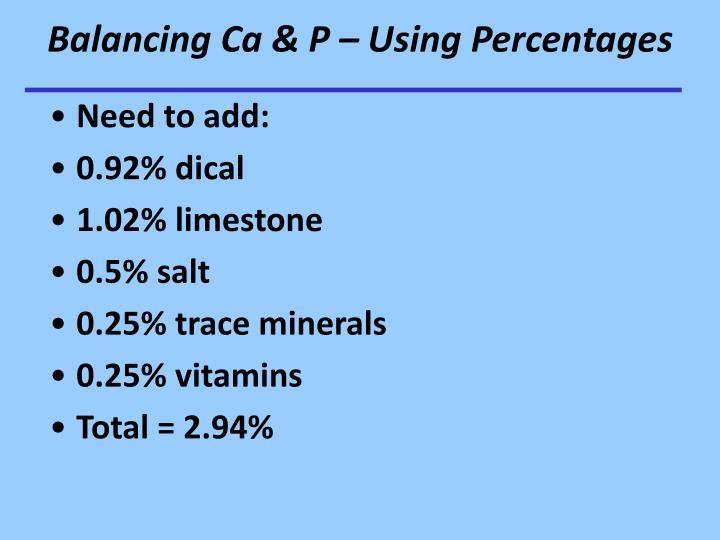 Balancing Ca & P – Using Percentages