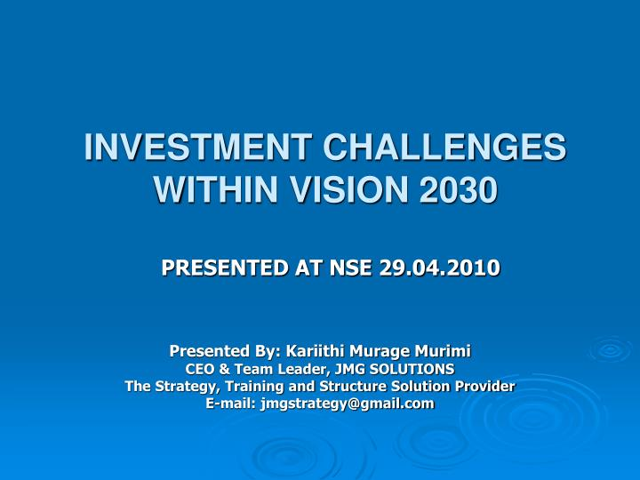 investment challenges within vision 2030 n.