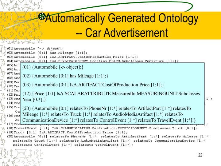 Automatically Generated Ontology