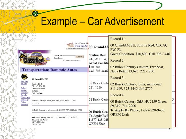 Example – Car Advertisement