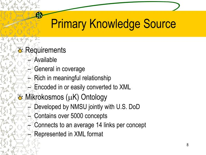 Primary Knowledge Source