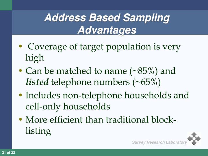 Address Based Sampling Advantages