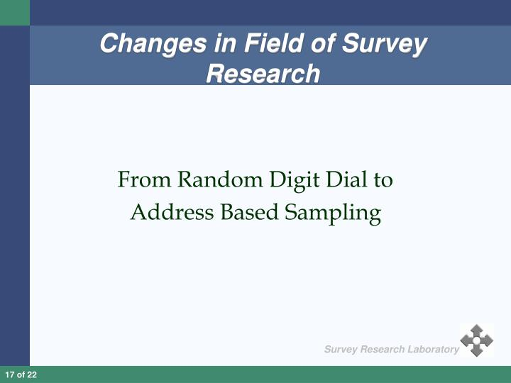 Changes in Field of Survey Research