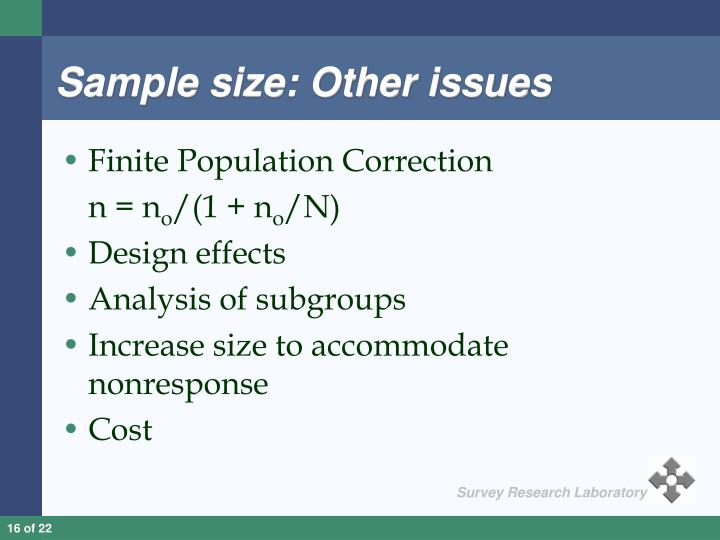 Sample size: Other issues