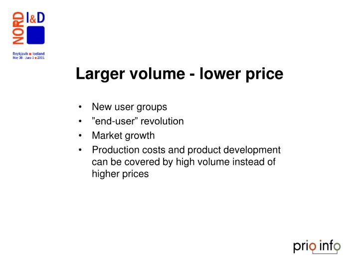 Larger volume - lower price