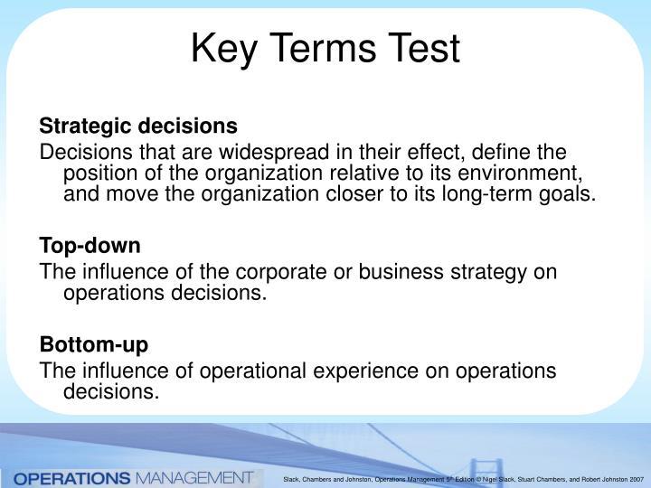 Key terms test