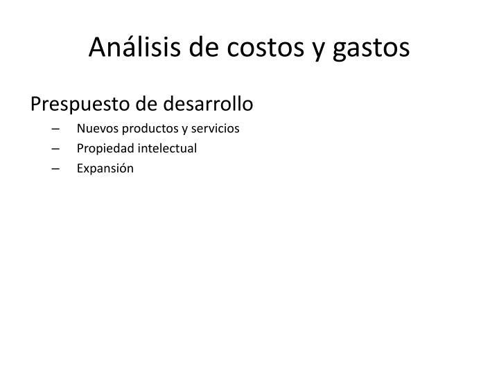 Análisis de costos y gastos