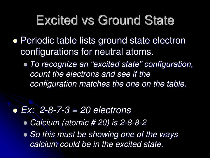 Excited vs Ground State