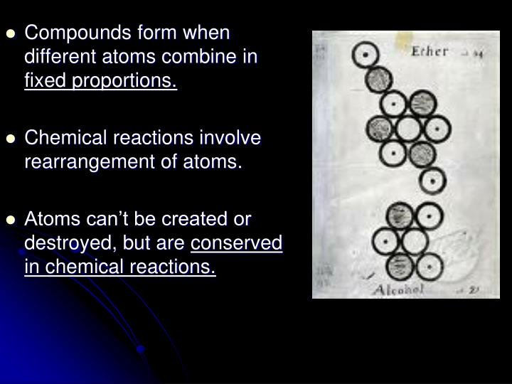 Compounds form when different atoms combine in