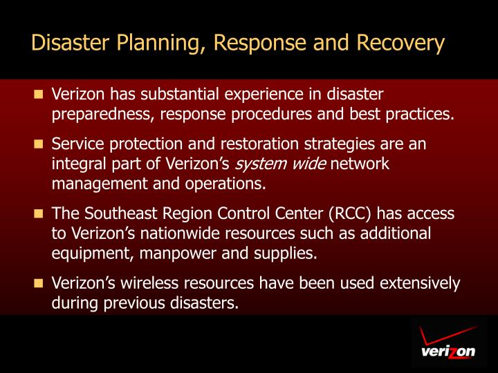 Disaster Planning, Response and Recovery