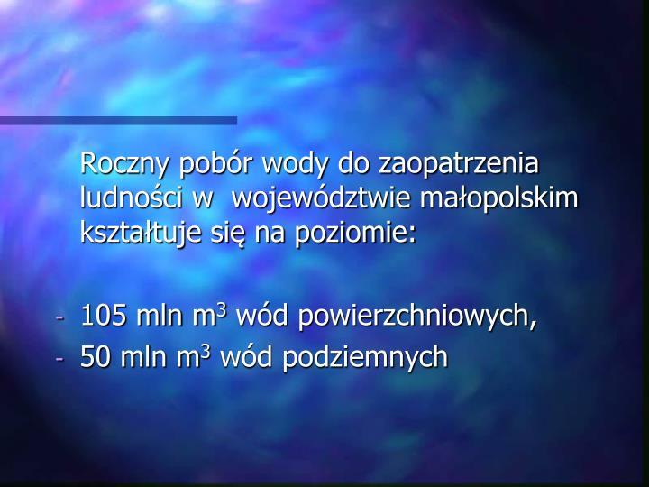 Roczny pobór wody do zaopatrzenia ludności w  województwie małopolskim kształtuje się na pozi...